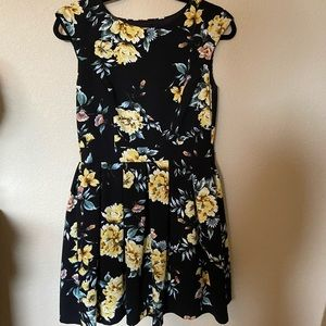 Black mini dress with yellow flowers